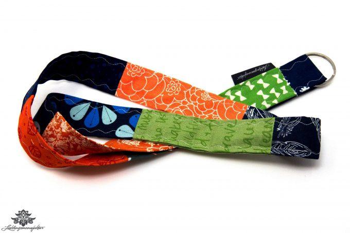 Patchwork Schlüsselband Farbe orange grün blau