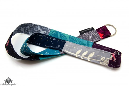 Patchwork Schlüsselband Farbe türkis grau