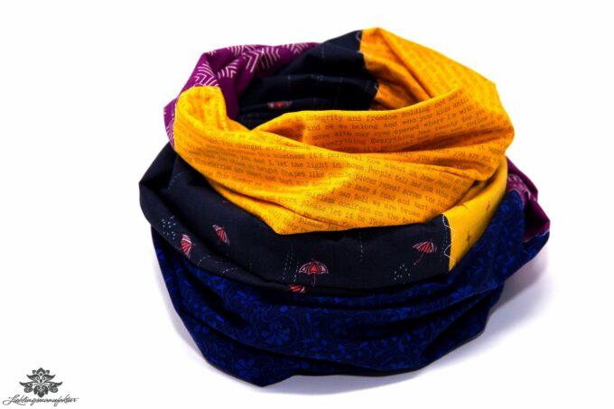 Schal Sommer blau orange lila