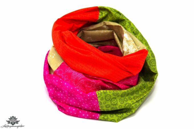 Schal Sommer grün orange pink