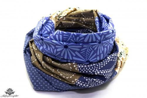 Schal blau beige