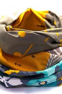 Schal blau beige gelb