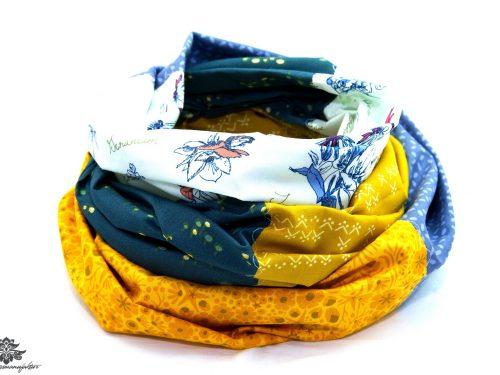 Schal blau weiss gelb