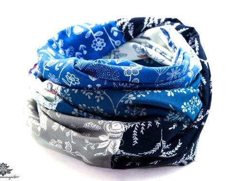 Schal blau weiss grau