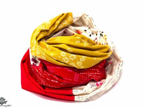 Schal gelb rot beige