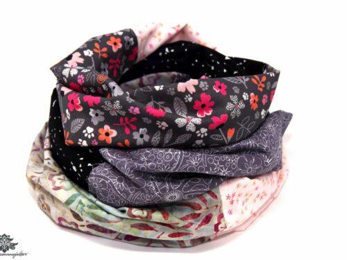 Schal grau schwarz rosa