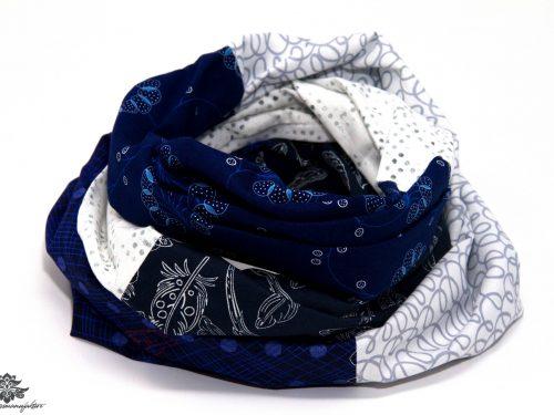 Schal marineblau weiss