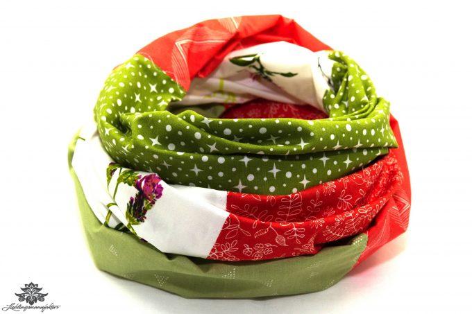 Schal rot weiss grün