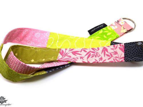 Schlüssel verlegt Patchwork Schlüsselband pink grün