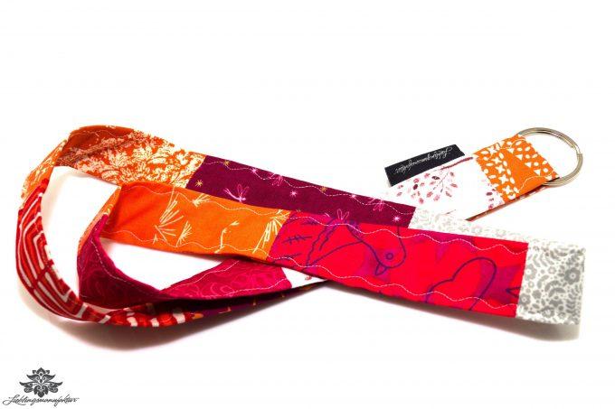 Schlüssel verlegt Patchwork Schlüsselband pink orange