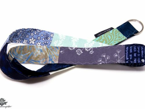 Schlüssel verloren Patchwork Schlüsselband lila blau grau