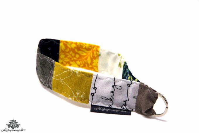 Schlüsselband kurz grau gelb