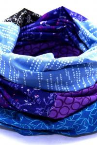 Tuch Patchwork blau schwarz