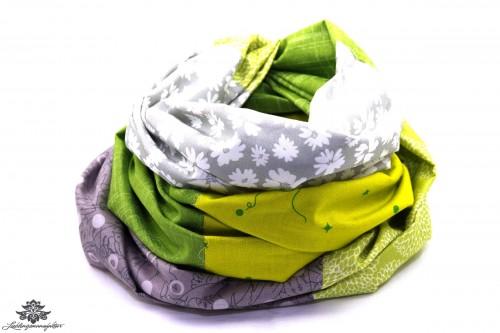 Tuch Patchwork grün grau