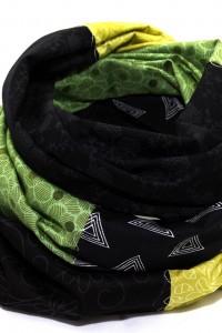 Tuch Patchwork grün schwarz