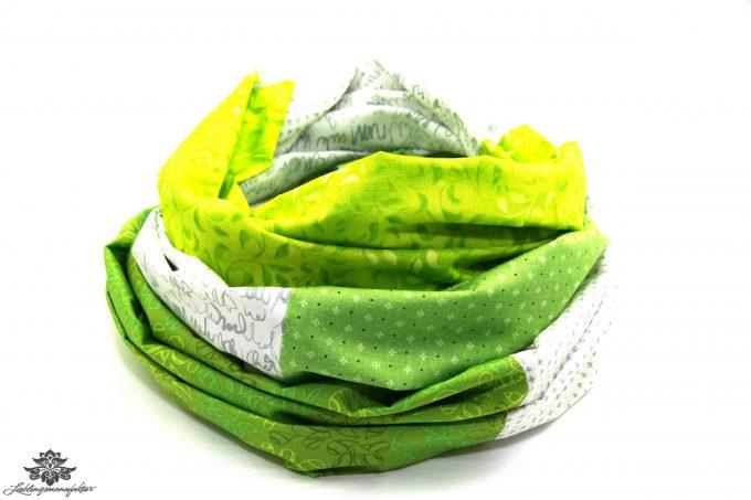 Tuch Patchwork grün weiss
