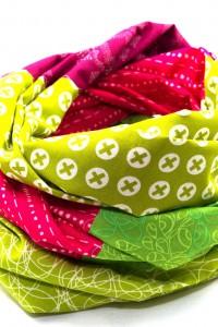 Tuch Patchwork pink grün