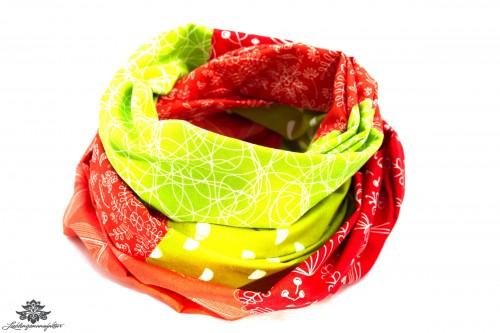 Tuch Patchwork rot grün