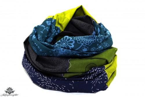 Tuch bunt blau grau grün