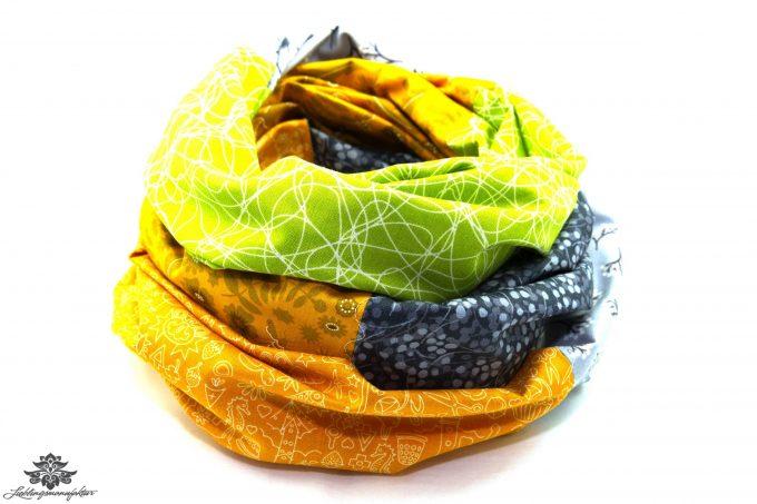 Tuch grün grau gelb