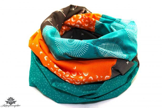 Tuch orange grau blau