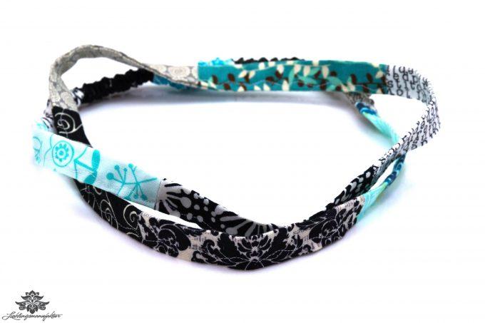 Haarband hellblau schwarz