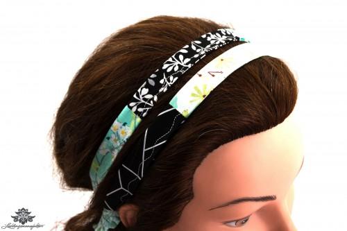 Haarband schwarz weiss blau