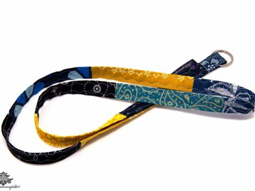 Patchwork Schlüsselband blau gelb