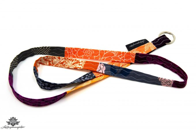 Schlüsselband schmal orange grau