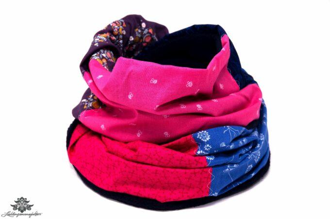 Bunter Schal pink blau