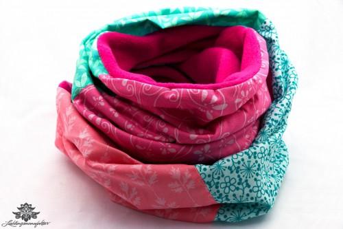 Schal pink türkis