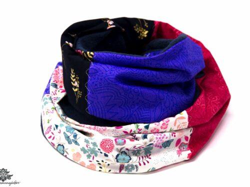 Schal dunkelblau pink