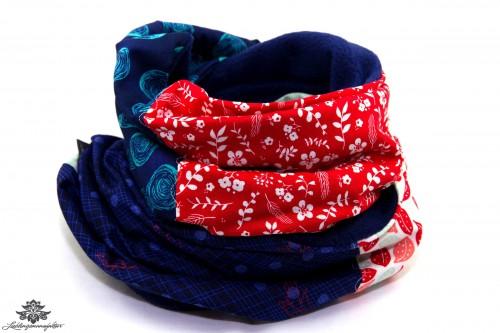 Schal dunkelblau rot