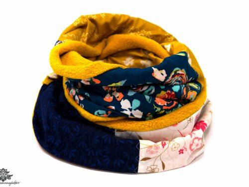 Schal gelb blau beige