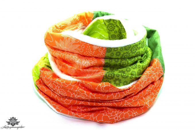 Schal orange grün