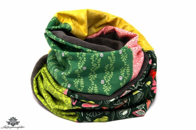 Winter-Schal Damen grün gelb