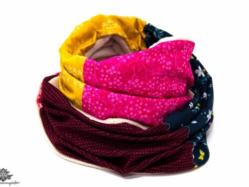 Winter-Schal gelb pink blau