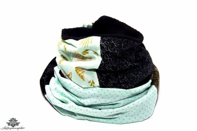 Winter-Schal hellblau schwarz
