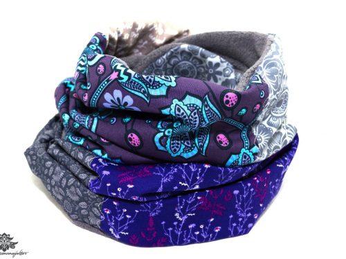 Winter-Schal lila grau