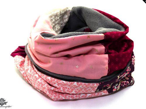 Schal Winter pink grau