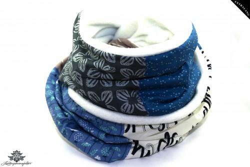 Schal anthrazit weiß blau