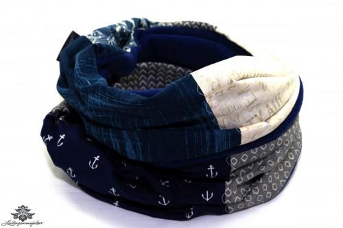 Schal beige blau