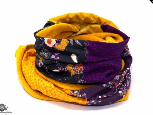 Schal braun gelb lila