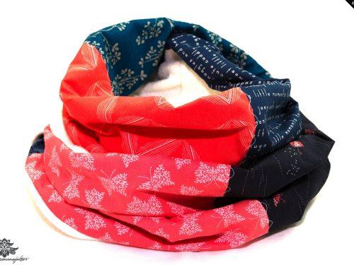 Schal dunkelblau rot weiss