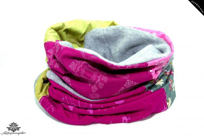 Schal pink grau grün
