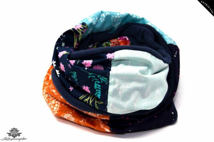 Winter Schal Damen blau orange