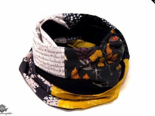 Winter Schal Damen grau braun gelb