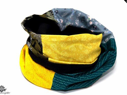 Winter Schal Damen grau petrol gelb