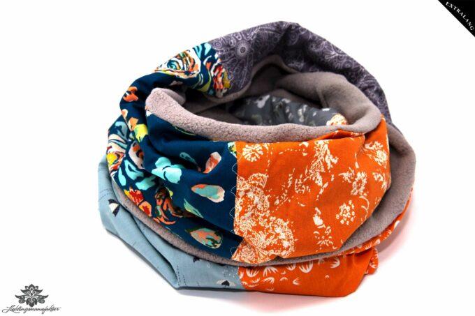 Winterschal Damen orange grau