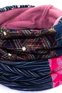 Winterschal Damen pink dunkelblau
